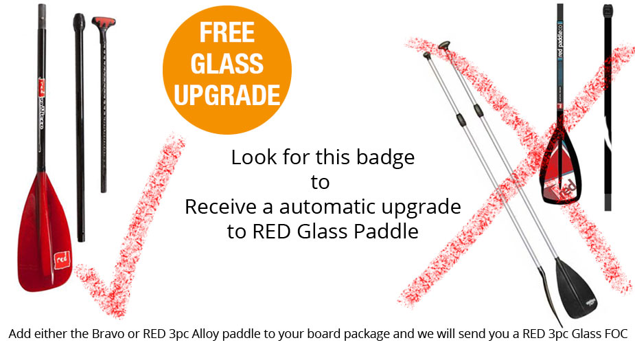 FREE SUP Paddle Upgrade  |  FREE Glass SUP Paddle  |  RED Glass 3pc Paddle FREE